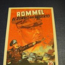 Cine: ROMMEL EL ZORRO DEL DESIERTO - SIN PUBLICIDAD. Lote 153580414