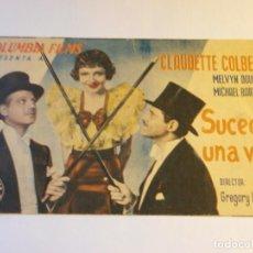 Cine: PROGRAMA DOBLE - SUCEDIÓ UNA VEZ - CLAUDETTE COLBERT, MELVYN DOUGLAS - CINE IDEAL - 1935.. Lote 153619098