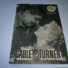 Cine: PROGRAMA DOBLE - LA RIVAL - CLARK GABLE, LANA TURNER - MGM - CINE PERELLÓ (MELILLA) - 1948.. Lote 153641738