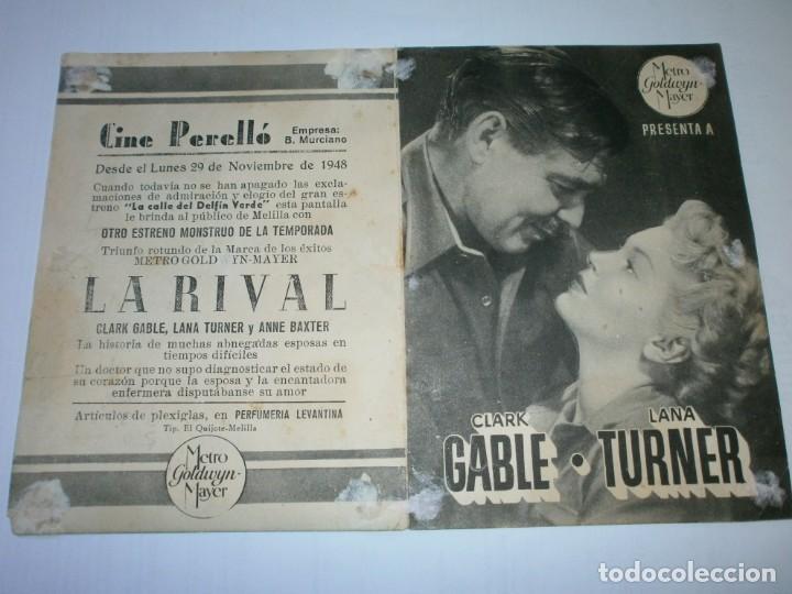 Cine: PROGRAMA DOBLE - LA RIVAL - CLARK GABLE, LANA TURNER - MGM - CINE PERELLÓ (Melilla) - 1948. - Foto 3 - 153641738