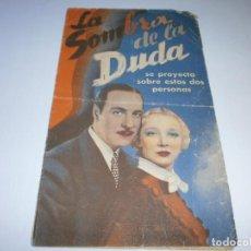Cine: PROGRAMA DOBLE - LA SOMBRA DE LA DUDA - RICARDO CORTEZ, VIRGINIA BRUCE - CENTRAL CINEMA - 1936.. Lote 153649622