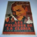 Cine: PROGRAMA DE CINE - LOS PELIGROS DE LA GLORIA - JAMES CAGNEY - CINE GOYA (VALENCIA) - 1943.. Lote 153688942