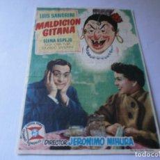 Cine: PROGRAMA DE CINE - MALDICIÓN GITANA - LUIS SANDRINI - IDEAL CINEMA (LUCENA, CÓRDOBA) - 1955.. Lote 153694602