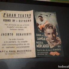 Cine: PROGRAMA DE MANO ORIGINAL DOBLE - LA FUERZA BRUTA - CINE DE VALENCIA . Lote 153984338