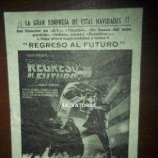Cine: REGRESO AL FUTURO I.ROBERT ZEMECKIS,CINE PRICE TENERIFE.PRIMERA PELICULA.FOLLETO MANO.ORIGINAL. Lote 154156690