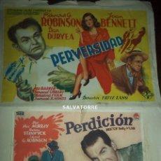 Cine: PERDICION.BILLY WILDER.PERVERSIDAD. FRITZ LANG.PROGRAMAS DE MANO.PEGADOS.. Lote 154157374