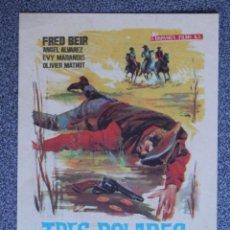 Folhetos de mão de filmes antigos de cinema: PROGRAMA DE CINE: TRES DÓLARES DE PLOMO - BARBASTRO HUESCA. Lote 154062490