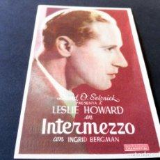 Cine: PROGRAMA DE CINE - CINE MODERNO - GIRONA - INTERMEZZO - 40/50 - IMPECABLE. Lote 154236854