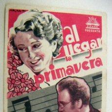 Folhetos de mão de filmes antigos de cinema: PROGRAMA DE CINE AL LLEGAR LA PRIMAVERA PROGRAMA TARJETA SIN PUBLICIDAD. Lote 154307326