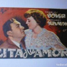 Cine: PROGRAMA DOBLE - CITA DE AMOR - CHARLES BOYER, MARGARET SULLAVAN - CINE MODERNO (MÁLAGA) - 1945.. Lote 154372578