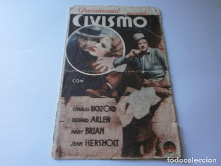 PROGRAMA DOBLE - CIVISMO - CHARLES BICKFORD, RICHARD ARLEN - TEATRO CIRCO - 1933. (Cine - Folletos de Mano - Drama)