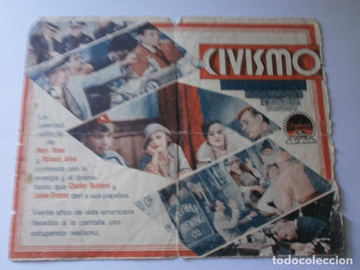 Cine: PROGRAMA DOBLE - CIVISMO - CHARLES BICKFORD, RICHARD ARLEN - TEATRO CIRCO - 1933. - Foto 2 - 154373566