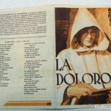 Cine: PROGRAMA DE CINE DOBLE LA DOLOROSA 1935 PUBLICIDAD GRAN CINE SPORT. Lote 154379262