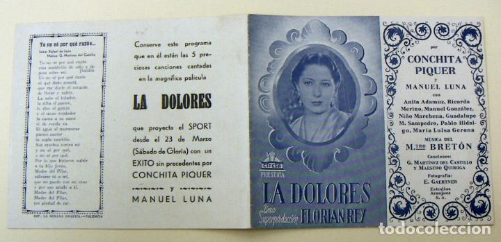 PROGRAMA DE CINE DOBLE LA DOLORES CINE SPORT BUEN ESTADO (Cine - Folletos de Mano - Clásico Español)