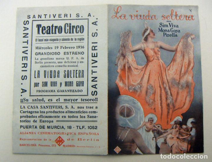 PROGRAMA DE CINE DOBLE LA VIUDA SOLTERA 1936 PUBLICIDAD TEATRO CIRCO (Cine - Folletos de Mano - Musicales)