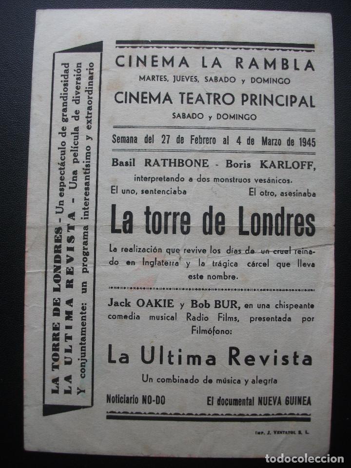 Cine: LA TORRE DE LONDRES, BASIL RATHBONE, BORIS KARLOFF, CINEMA LA RAMBLA, 1945 - Foto 2 - 154691934