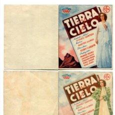 Foglietti di film di film antichi di cinema: TIERRA Y CIELO, CON MARUCHI FRESNO.. Lote 154741046