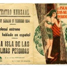 Cine: LA ISLA DE LAS ALMAS PERDIDAS, CON BELA LUGOSI.. Lote 154756190