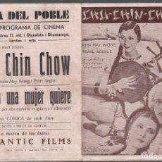 Cine: CHU-CHIN-CHOW - WALTER FORDE / PROGRAMA DOBLE CON PUBLICIDAD AL DORSO RF-1355. Lote 154912242