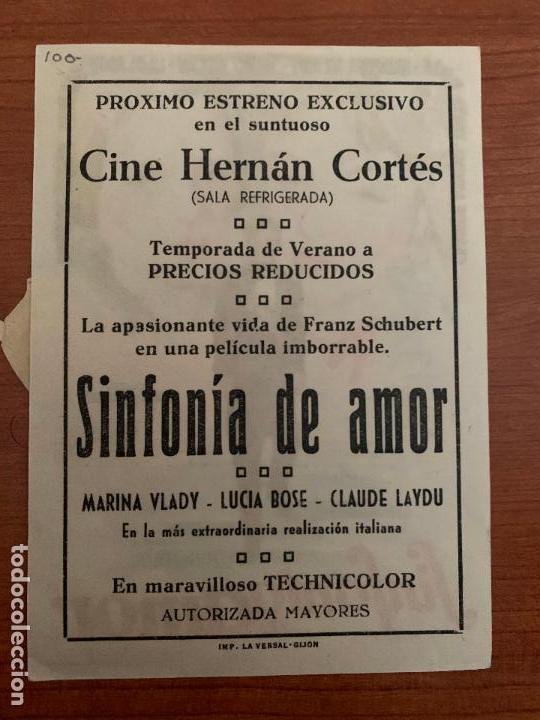Cine: FOLLETO DE CINE, SINFONIA DE AMOR CON LUCIA BOSE , AÑOS 60, CINE HERNAN CORTES, GIJON - Foto 2 - 118838979