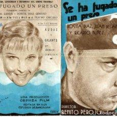 Cine: SE HA FUGADO UN PRESO, CON JUAN DE LANDA. 15,5 X 22 CMS.. Lote 155025910