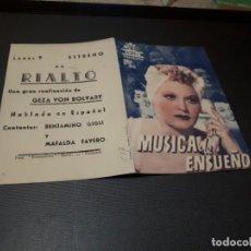 Cine: PROGRAMA DE MANO ORIG DOBLE - MUSICA DE ENSUEÑO - CINE DE VALENCIA. Lote 155440358