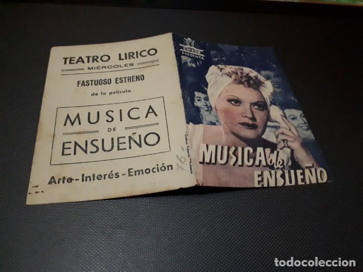 PROGRAMA DE MANO ORIG DOBLE - MUSICA DE ENSUEÑO - CINE TEATRO LIRICO (Cine - Folletos de Mano - Comedia)