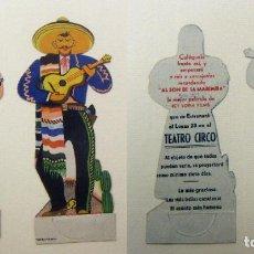 Cine: PROGRAMA DE CINE TROQUELADO SIN DOBLAR AL SON DE LA MARIMBA PUBLICIDAD TEATRO CIRCO. Lote 155588794