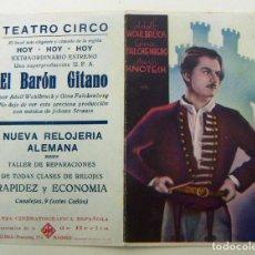Cinema - PROGRAMA DE CINE DOBLE EL BARON GITANO PUBLICIDAD TEATRO CIRCO - 155647458