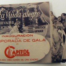 Cine: PROGRAMA DE CINE DOBLE TROQUELADO LA VIUDA ALEGRE PUBLICIDAD CAPITOL. Lote 155665674