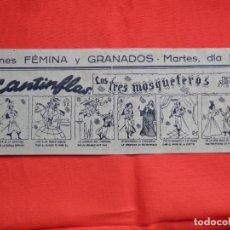 Cine: LOS TRES MOSQUETEROS, PROGRAMA FACSIMIL, CANTINFLAS, CINES FÉMINA Y GRANADOS. Lote 155666518