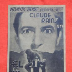 Cine: EL VIDENTE, IMPECABLE DOBLE FACSIMIL, CLAUDE RAINS, SIN PUBLICIDAD. Lote 155668246