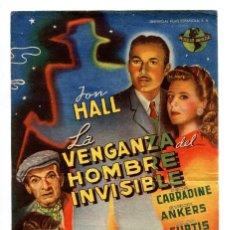 Cine: LA VENGANZA DEL HOMBRE INVISIBLE, CON JOHN HALL.. Lote 155692430