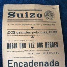 Cine: ANTIGUO PROGRAMA CINE SUIZO CARTELITO HABÍA UNA VEZ DOS HEROES ENCADENADA . Lote 155800182