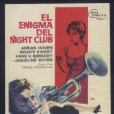Cine: P-7866- EL ENIGMA DEL NIGHT CLUB (ADRIAN HOVEN - RENATE EWERT - JAQUELINE BOYER). Lote 155845078