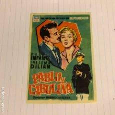 Cine: PABLO Y CAROLINA. FOLLETO DE MANO ESTRENO EN CINE CONSULADO DE BILBAO EN 1957.. Lote 155997601
