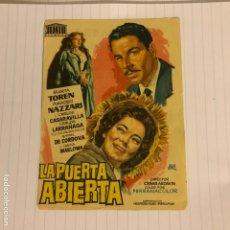 Cine: LA PUERTA ABIERTA. FOLLETO DE MANO ESTRENO EN CINE CENTRAL DE GRANADA EN 1959.. Lote 156000213