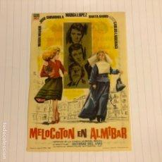 Cine: MELOCOTÓN EN ALMÍBAR. FOLLETO DE MANO ESTRENO EN CINE CONSULADO DE BILBAO EN 1960.. Lote 156000652