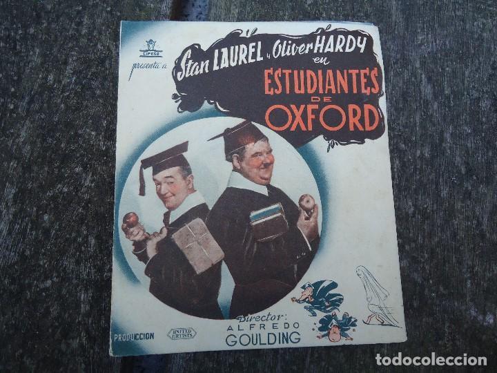 ESTUDIANTES EN OXFORD - FOLLETO MANO DOBLE CIFESA LAUREL Y HARDY GORDO Y FLACO PIE VERA SEVILLA PUB (Cine - Folletos de Mano - Comedia)