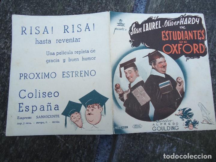 Cine: Estudiantes en Oxford - folleto mano doble cifesa Laurel y Hardy gordo y flaco PIE VERA SEVILLA PUB - Foto 3 - 156504214