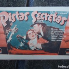 Cine: PISTAS SECRETAS 1936 FRED MAC MURRAY, SIR GUY STANDING, ANN SHERIDAN CON FECHA SÁBADO 21 DE MARZO DE. Lote 156518798