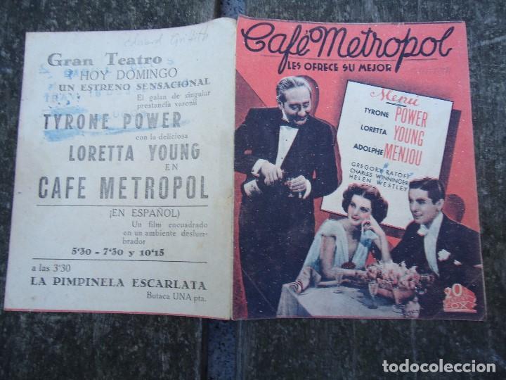 Cine: CAFE METROPOL. años 30 TYRONE POWER, LORETTA YOUNG. DOBLE 20TH CENTURY FOX CON PUBLICIDAD - Foto 3 - 156536878