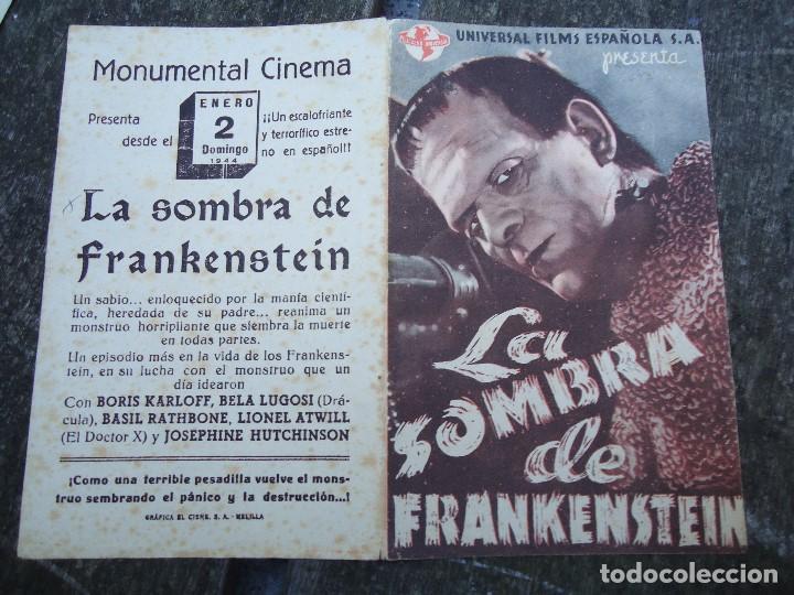 Cine: LA SOMBRA DE FRANKENSTEIN 1944 BORIS KARLOFF BELA LUGOSI CON FECHA 2 DE ENERO DE 1944 UNIVERSAL DOBL - Foto 3 - 156539794