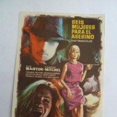 Cine: SEIS MUJERES PARA EL ASESINO MARIO BAVA FOLLETO DE MANO ORIGINAL ESTRENO PERFECTO ESTADO. Lote 156625234