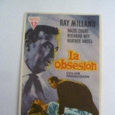 Cine: LA OBSESION RAY MILLAND ROGER CORMAN FOLLETO DE MANO ORIGINAL ESTRENO PERFECTO ESTADO. Lote 156625462