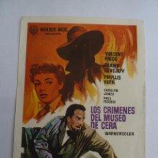 Cine: LOS CRIMENES DEL MUSEO DE CERA VINCENT PRICE FOLLETO DE MANO ORIGINAL ESTRENO. Lote 156625646