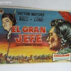Cine: EL GRAN JEFE VICTOR MATURE FOLLETO DE MANO ORIGINAL ESTRENO PERFECTO ESTADO. Lote 156626994