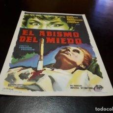 Cine: PROGRAMA DE MANO ORIGINAL - EL ABISMO DEL MIEDO - SIN CINE . Lote 156664718
