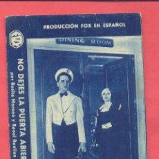Cine: NO DEJES LA PUERTA ABIERTA, TARJETA FOX,METROPOL CINEMA ,1934, VILASSAR DE DALT , VER FOTOS. Lote 156717954