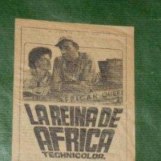 Cine: PROGRAMA FOLLETO DE MANO: LA REINA DE AFRICA - ALEXIS BARCELONA 1972. Lote 156738578